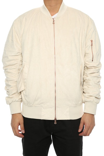 Lifted Anchors Suede Bomber Jacket White