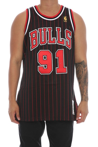 Mitchell & Ness Chicago Bulls Dennis Rodman '91' Hardwood Classics Authentic Jersey Black/Red