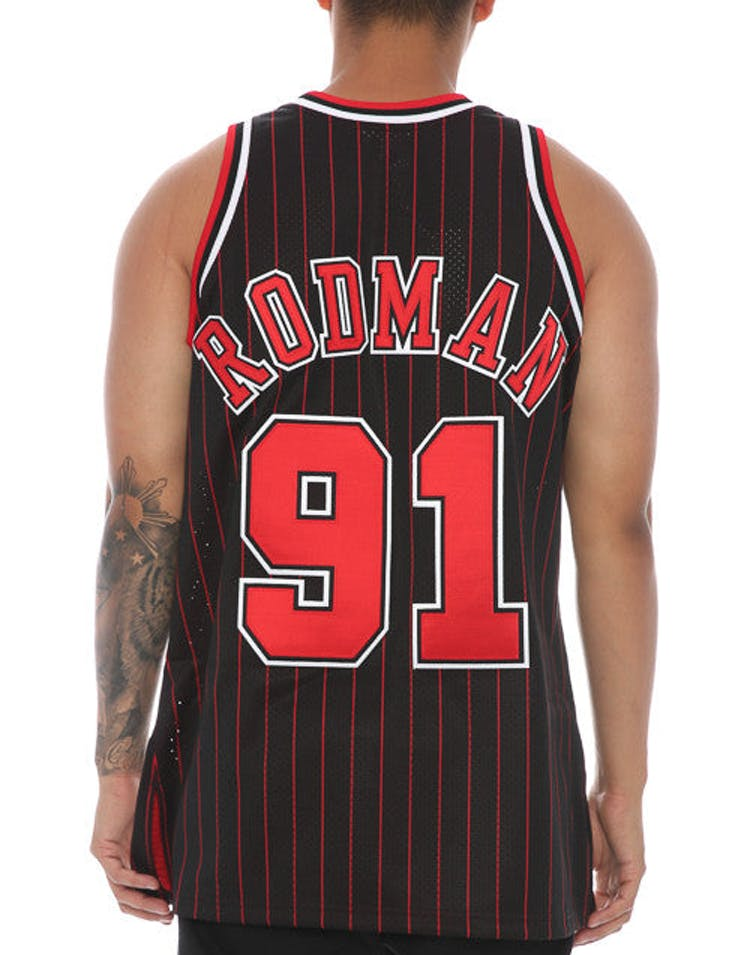 6607d41fc Mitchell   Ness Chicago Bulls Dennis Rodman  91  Hardwood Classics  Authentic Jersey Black