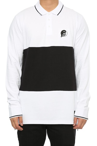 Goat Crew Yin Yang Embroidery LS Polo White/Black