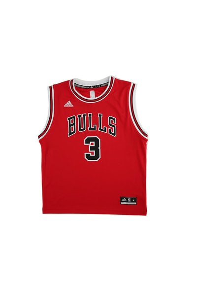Adidas Performance NBA Chicago Bulls Dwyane Wade Youth Jersey '3' Red