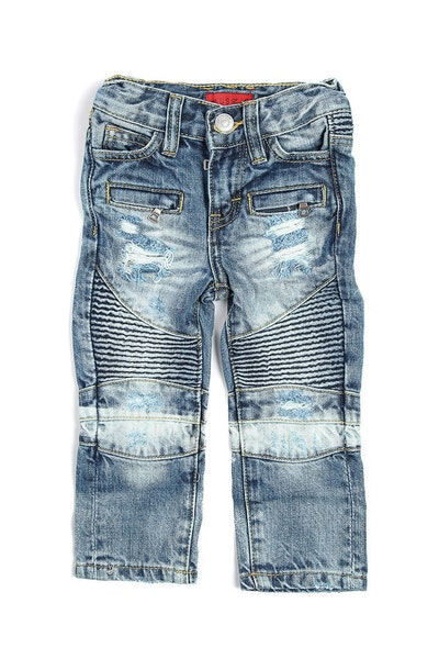 Haus of JR Clayton Distressed Biker Denim Blue/White