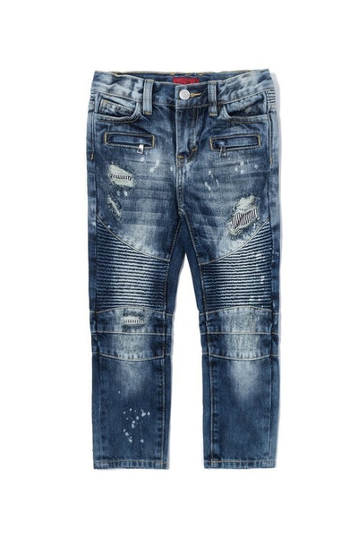 Haus of JR Clayton Distressed Biker Denim Medium Blue