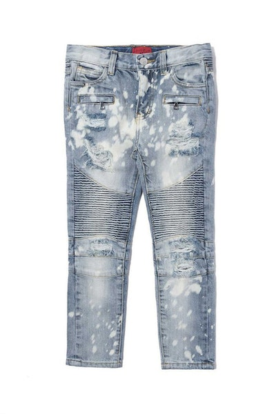 Haus of JR Clayton Distressed Biker Denim Snow Wash