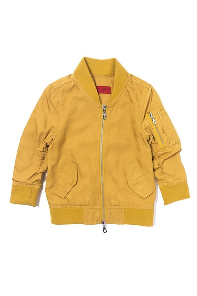 Haus of JR Devin Satin Bomber Jacket Mustard