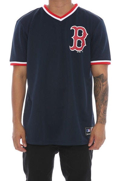 Majestic Athletic Kabor V-Neck Boston Tee Navy/Red