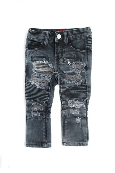 Haus of JR Clayton Distressed Biker Denim Navy