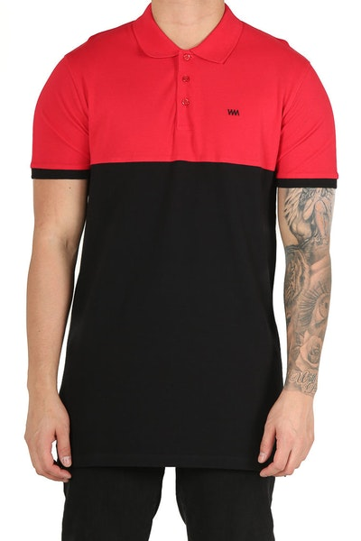 Well Made Polo SS Tee Red/Black