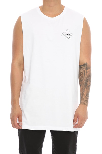 Goat Crew Up In Smoke Muscle Tee White