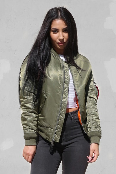Alpha Industries Women's MA-1 Slim Flight Jacket Green