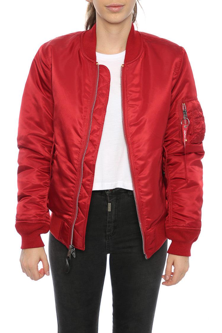 Alpha Industries Women's MA 1 Slim Flight Jacket Red