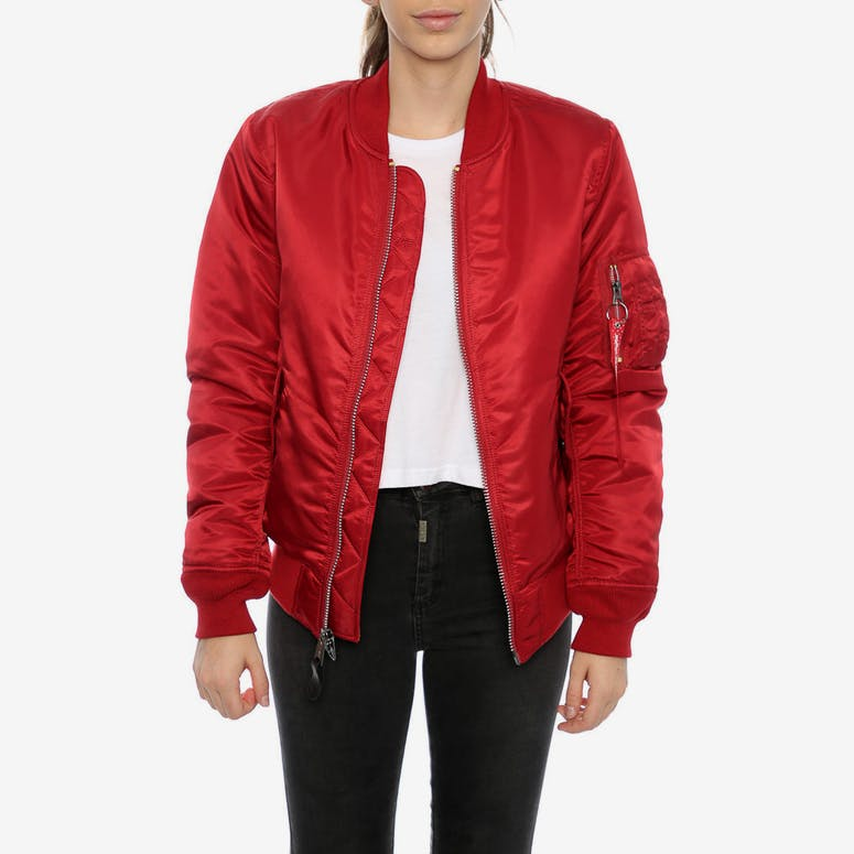 Alpha Industries Women s MA-1 Slim Flight Jacket Red – Culture Kings ca9cfad5a