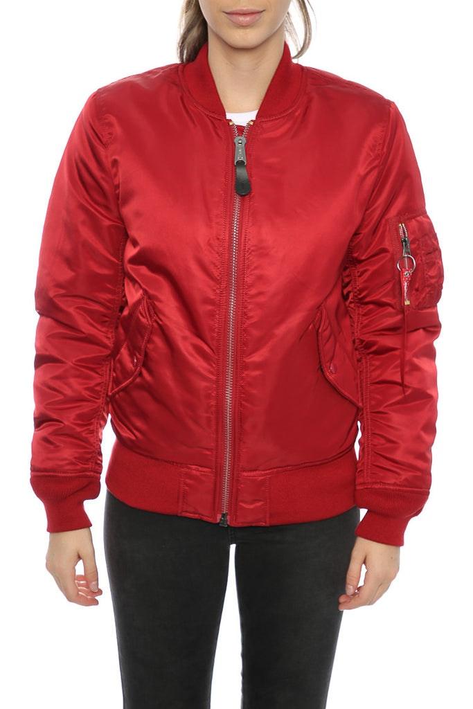 Alpha Industries Women's MA-1 Slim Flight Jacket Red – Culture Kings