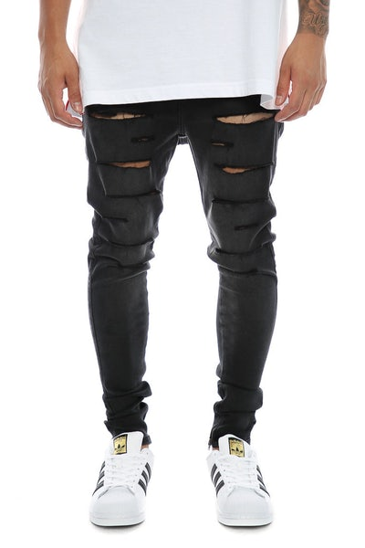 Sik Silk Washed Distressed Hareem Jeans Washed Black