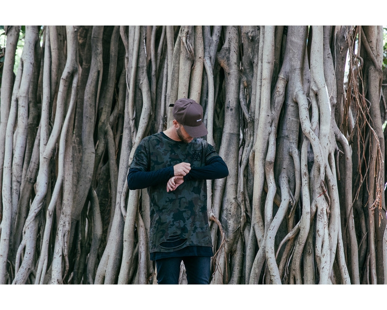 Sik Silk Double Layered Ripped Long Sleeve Tee Camo/Black