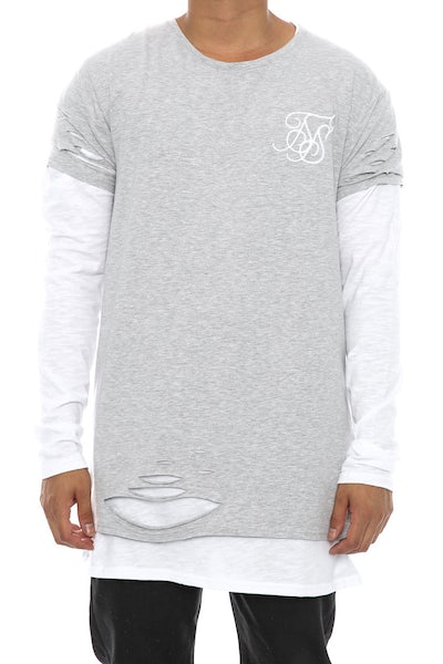 Sik Silk Double Layered Ripped Long Sleeve Tee Grey/White