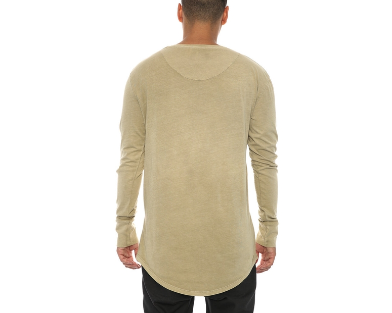 Sik Silk Destroyed Curved Hem Tee Beige
