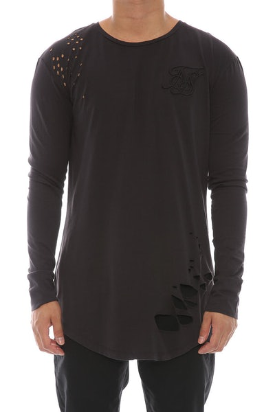 Sik Silk Destroyed Curved Hem Tee Washed Black