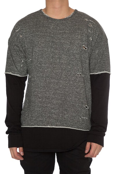 EPTM L/S French Terry Long Tee Charcoal/Black