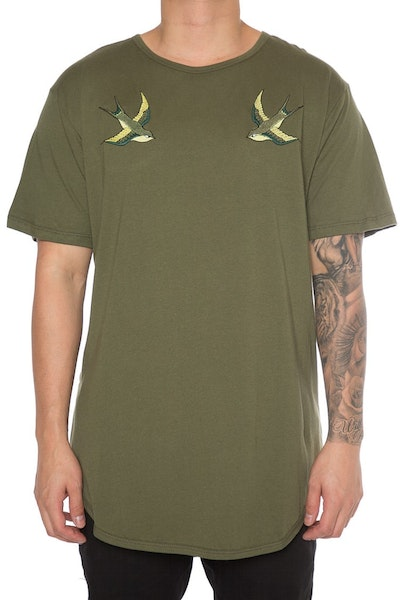 EPTM Embroidery Birds OG Long Tee Olive