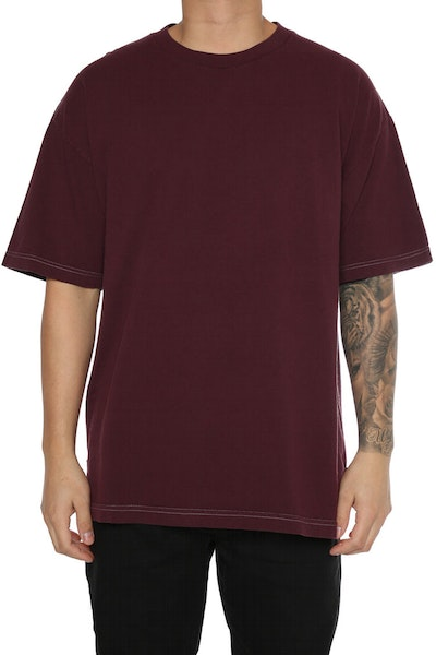 EPTM Embroidery Rose Box Tee Burgundy