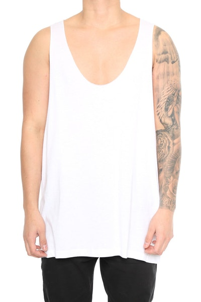 EPTM Deep Cut Tank Top White