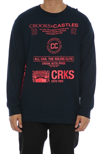 Crooks & Castles Recognition Long Sleeve Tee Navy