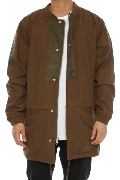 Crooks & Castles Raptor Longline Bomber Jacket Green