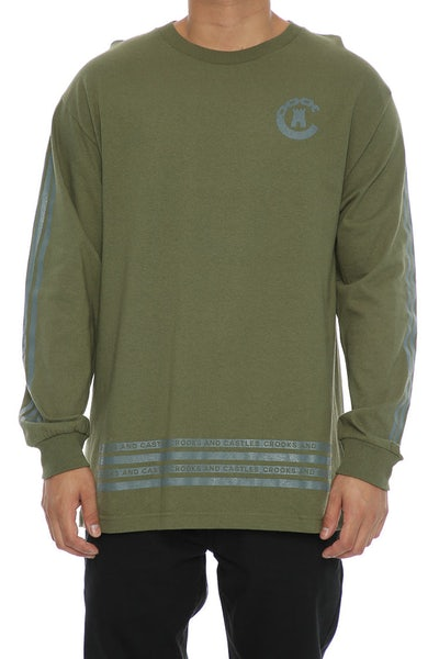 Crooks & Castes Banding Long Sleeve Tee Military