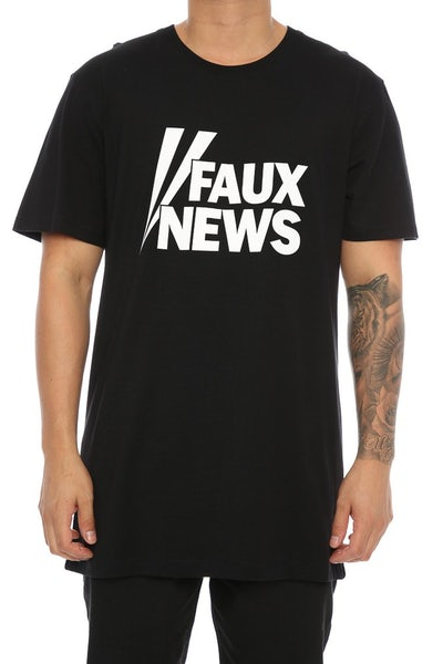 Goat Crew Faux News Tee Black