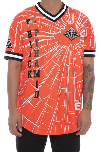 Black Pyramid Shattered Baseball Jersey Orange