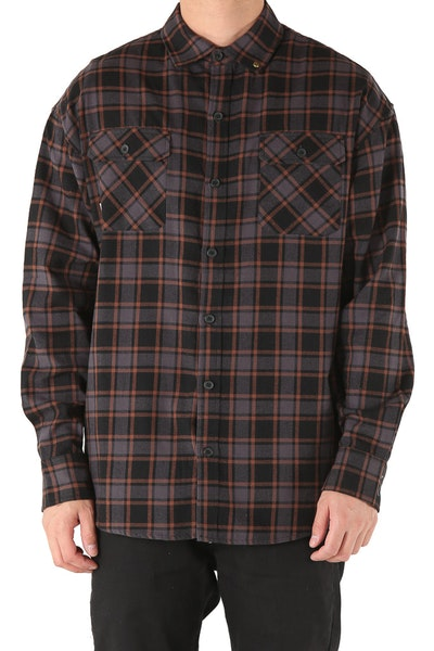 Saint Morta Trial Flannel Shirt Black/Charcoal