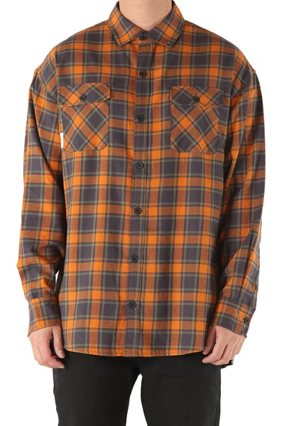 Saint Morta Trial Flannel Shirt Charcoal/Orange