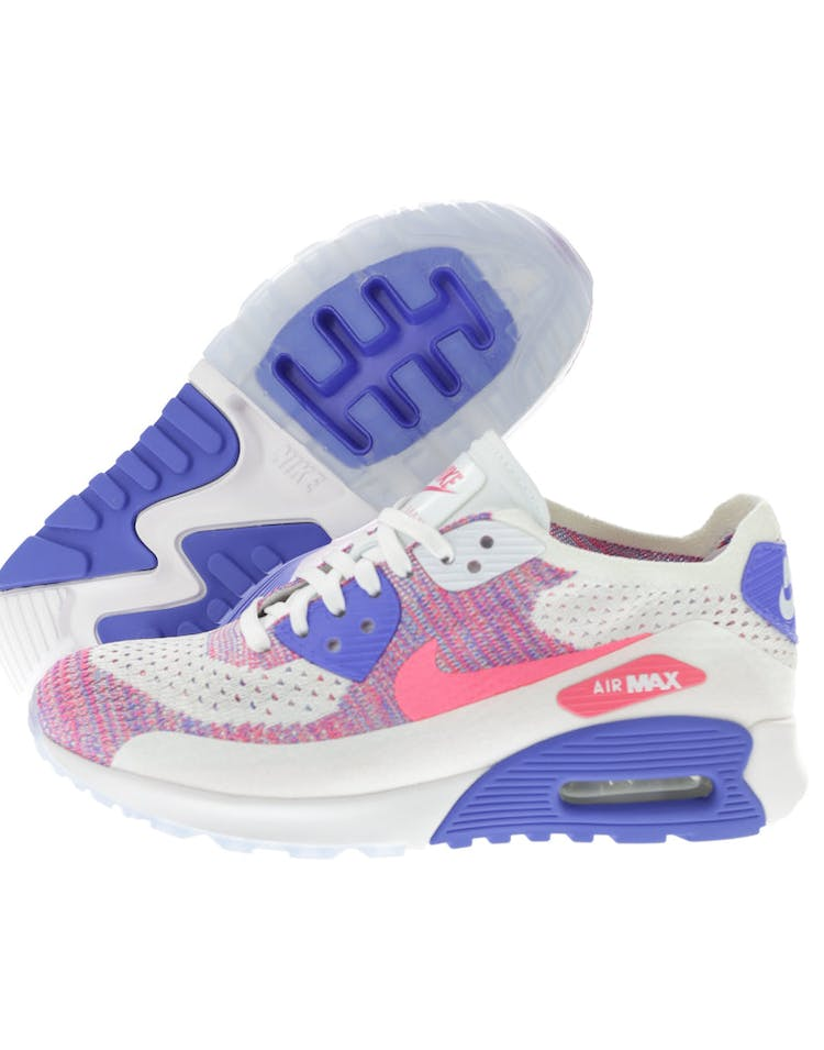 e2e4306b9c5a7 Nike Women s Air Max 90 Flyknit Ultra 2.0 White Pink Blue