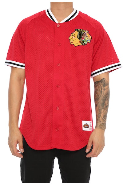 Mitchell & Ness Blackhawks Pro Mesh Button Up Red