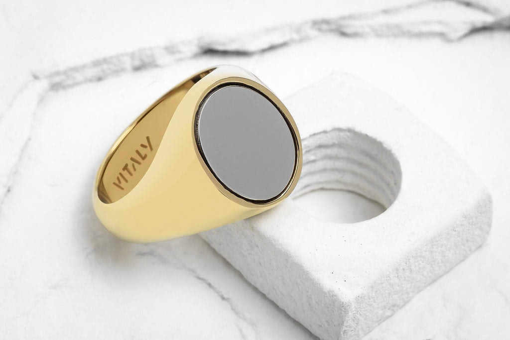 vitaly pryde ring gold polished steel culture