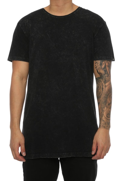 Silent Theory Acid Tall Tee Washed Black