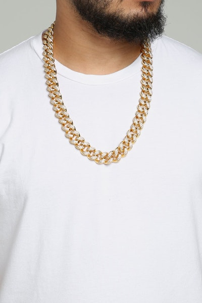 "Saint Morta Cuban Link 28"" 19mm Diamond Chain Gold"