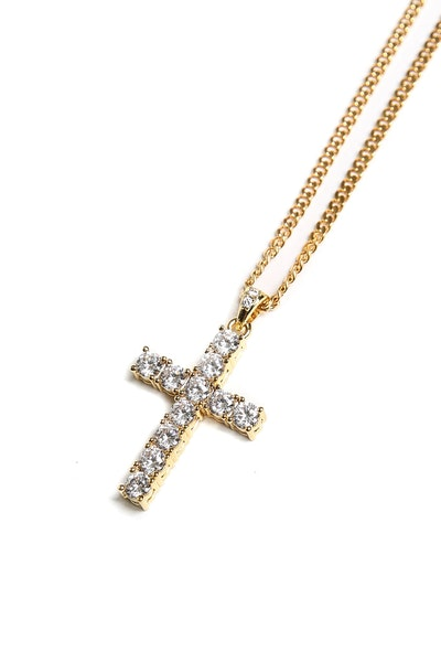"Saint Morta 28"" 3mm Diamond Cross Pendant Gold"