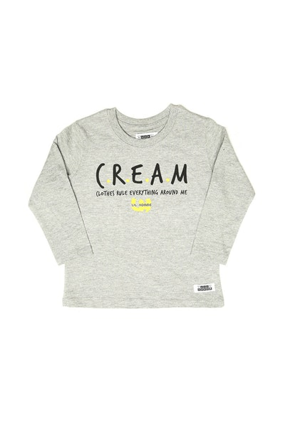 Lil Homme C.R.E.A.M Long Sleeve Tee Grey