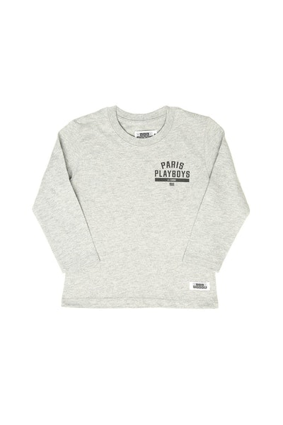 Lil Homme Paris Playboys Long Sleeve Tee Grey