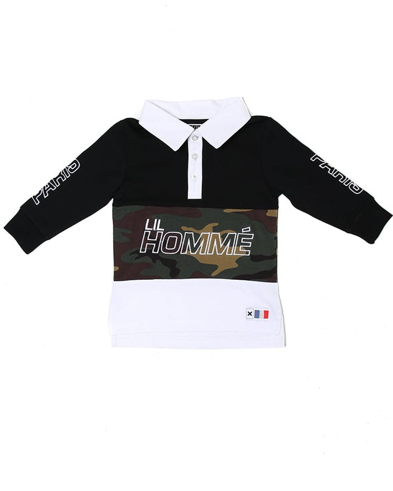 Lil Homme Conducteur Long Sleeve Polo Black/White/Cam