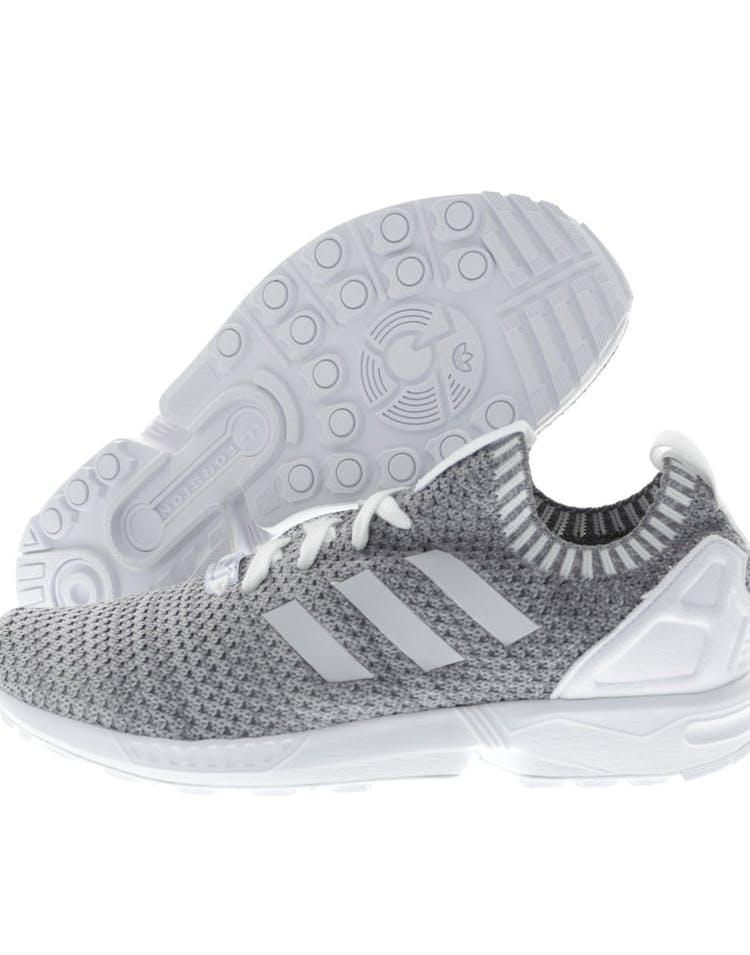los angeles d6e34 5be52 Adidas Originals ZX Flux Primeknit White Black