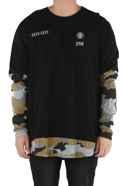 DXPE Chef Oversized Layered Camo Long Sleeve Tee Black