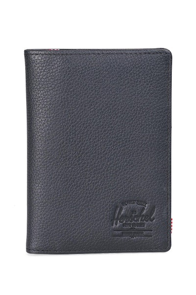 Herschel Supply Co Raynor Leather Passport Holder Black