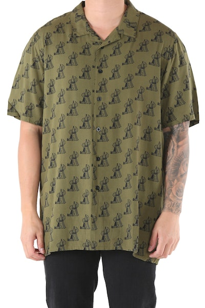 Draft Day Tipi Tango SS Button Up Shirt Army Green