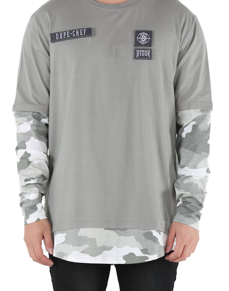 d573536c175f DXPE Chef Oversized Layered Camo Long Sleeve Tee Grey – Culture Kings