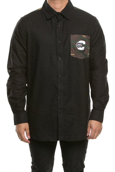 Carré Premier LS Button Up Black/Camo