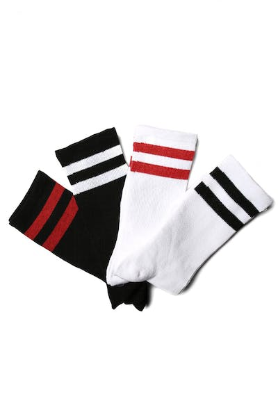 New Slaves Stripe Sock 4 Pack White/Black