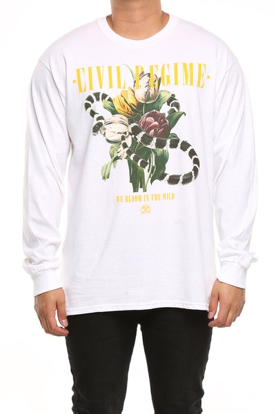 Civil Regime Rebel Bloom LS Tee White